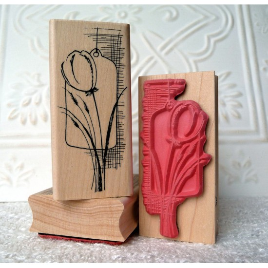 Tulip Collage Rubber Stamp