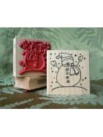 Snowy Snowman Rubber Stamp