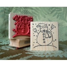 Snowy Snowman Rubber Stamp