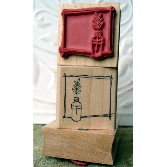 Sprig and Frame Rubber Stamp