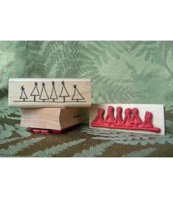 Christmas Tree Border Rubber Stamp