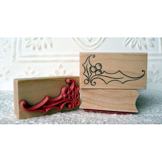 Holly Corner Rubber Stamp