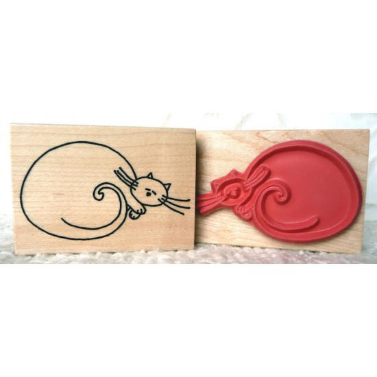 Cat Nap Rubber Stamp