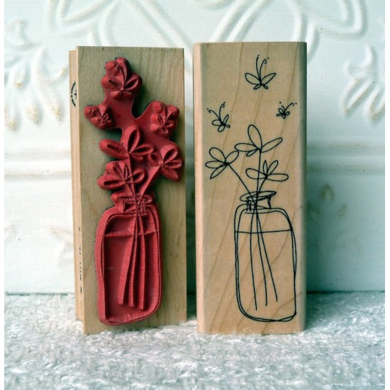 Butterfly Jar Rubber Stamp
