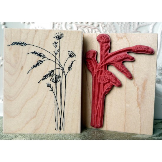 Prairie Flowers Rubber Stamp