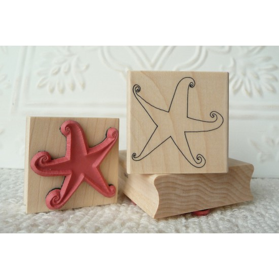 Swirly Star Rubber Stamp