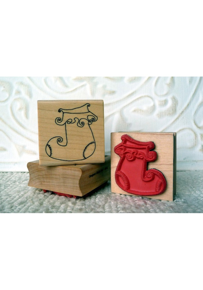 Santa's Stocking Rubber Stamp