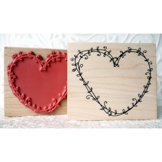 Vine Heart Rubber Stamp