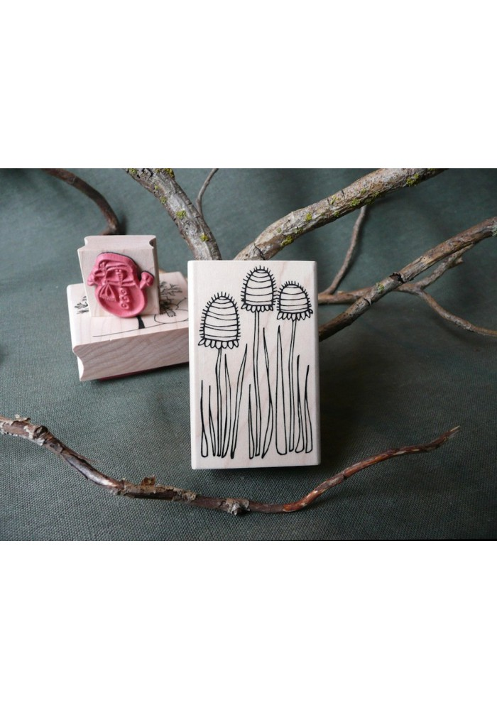Bumble Flowers Rubber Stamp