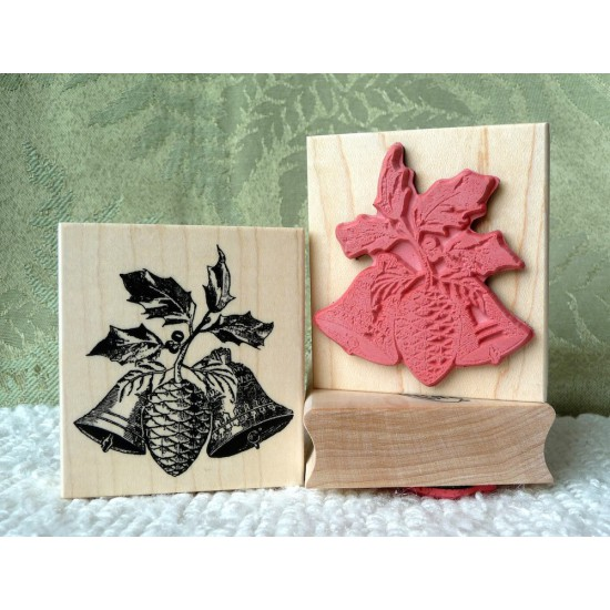 Holly Bells Rubber Stamp