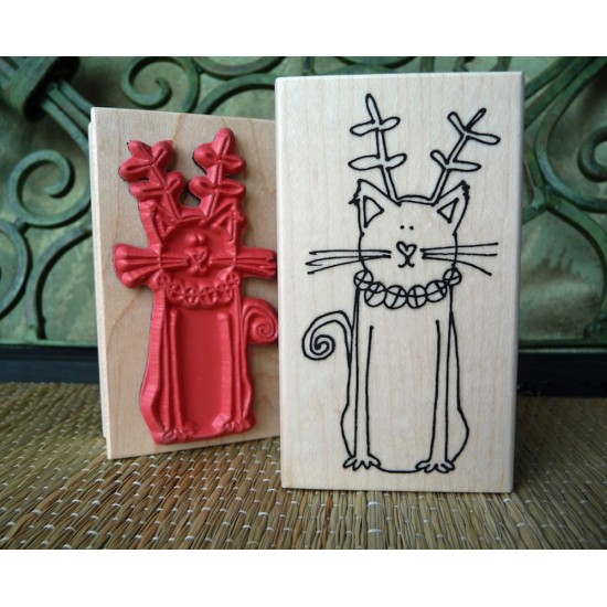 Christmas Cat Rubber Stamp
