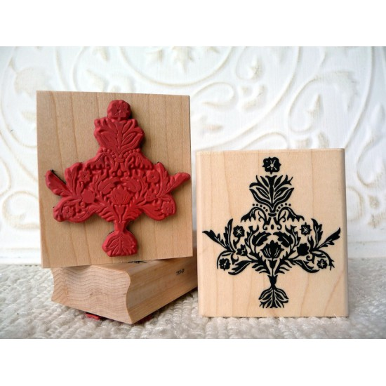 Damask Christmas tree Rubber Stamp