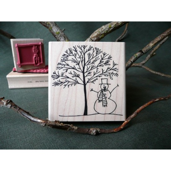 Winter Snowscene Rubber Stamp