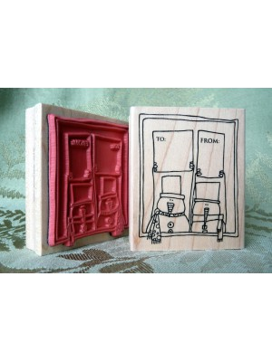 Two From Snowmen Rubber Stamp