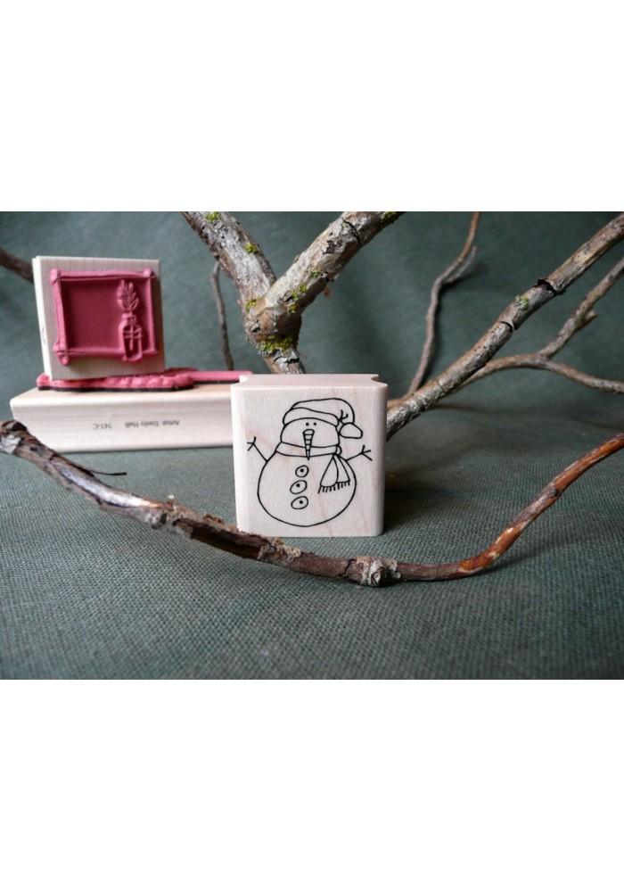 Mini Snowman Rubber Stamp