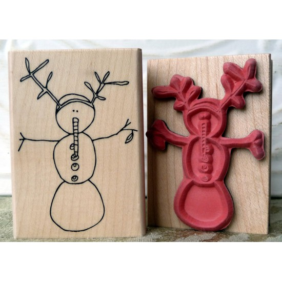 Twiggy Snowman Rubber Stamp