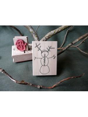 Twiggy Snowman Rubber Stamp