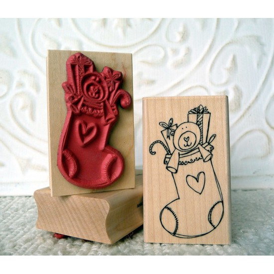 Stuffed Stocking Rubber Stamp
