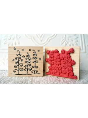 Starry Night Trees Rubber Stamp