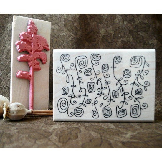 Whimsy Garden Background Rubber Stamp