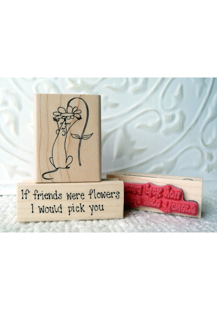 If Friends were flowers… Rubber Stamp