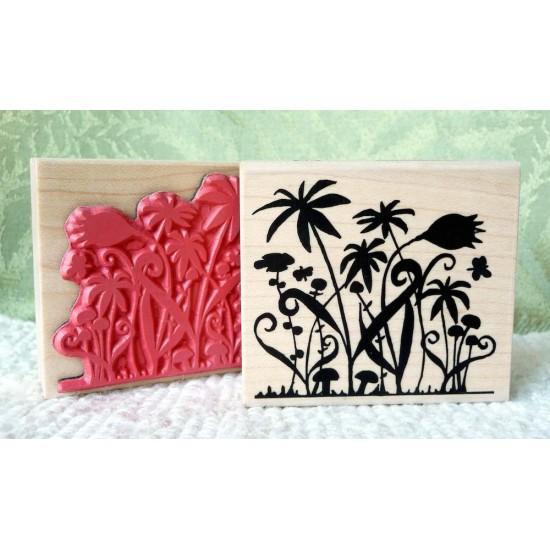 Silhouette Garden Rubber Stamp