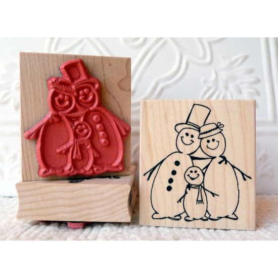 Snowman Family Rubber Stamp