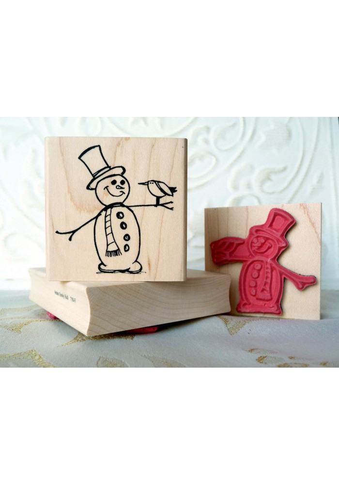 Snowman with Bird Rubber Stamp