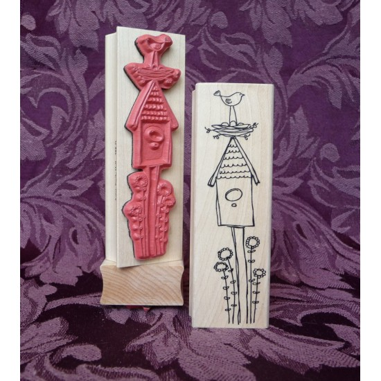 Community Bird House Rubber Stamp