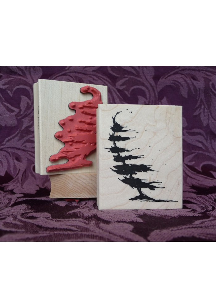 Against the Wind Tree Rubber Stamp