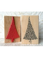 Swirly Christmas Tree Rubber Stamp