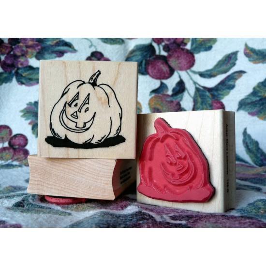 Punkin Head - Carved Pumpkin Rubber Stamp