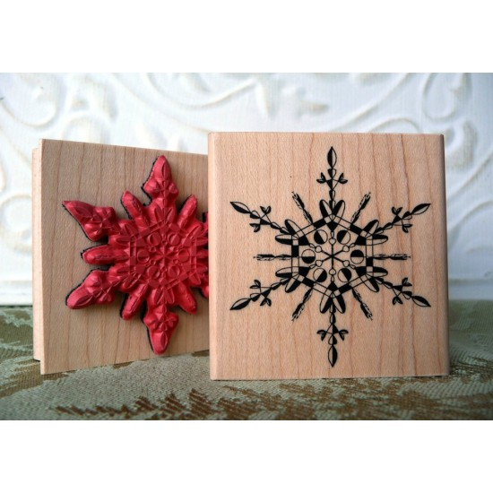 Hearts-in-Ice Snowflake Rubber Stamp
