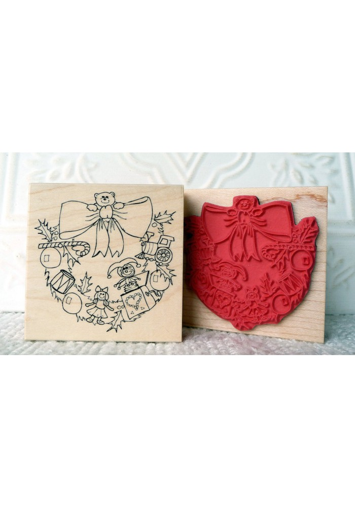 Toy Wreath Rubber Stamp