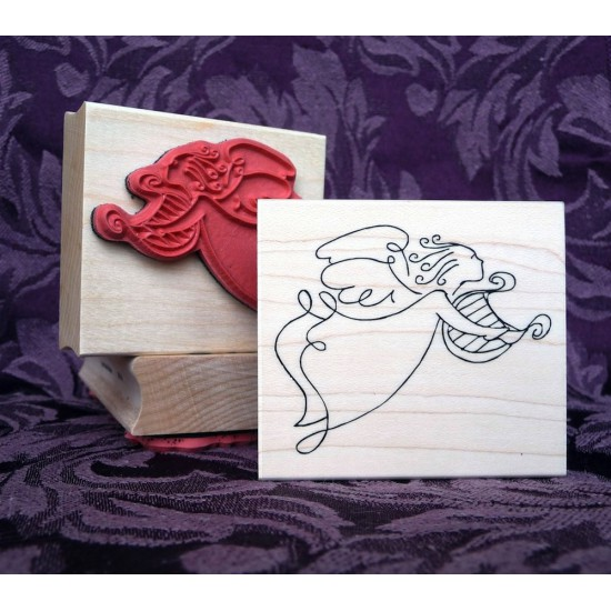 Heavenly Harpist Rubber Stamp