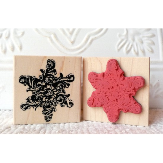 Baroque Snowflake Rubber Stamp