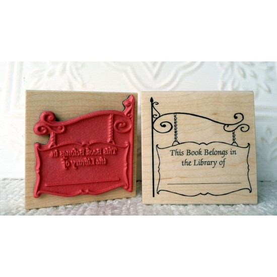 Olde English Bookplate Rubber Stamp