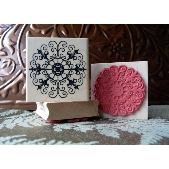Iron Garden Medallion Rubber Stamp