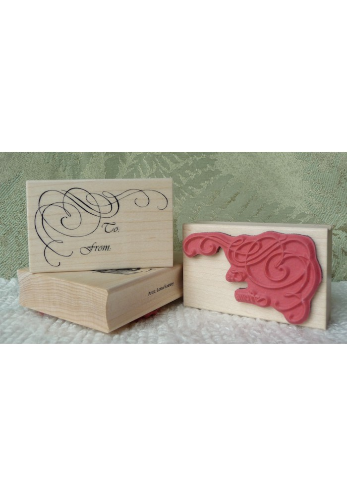 Swirly To From Rubber Stamp