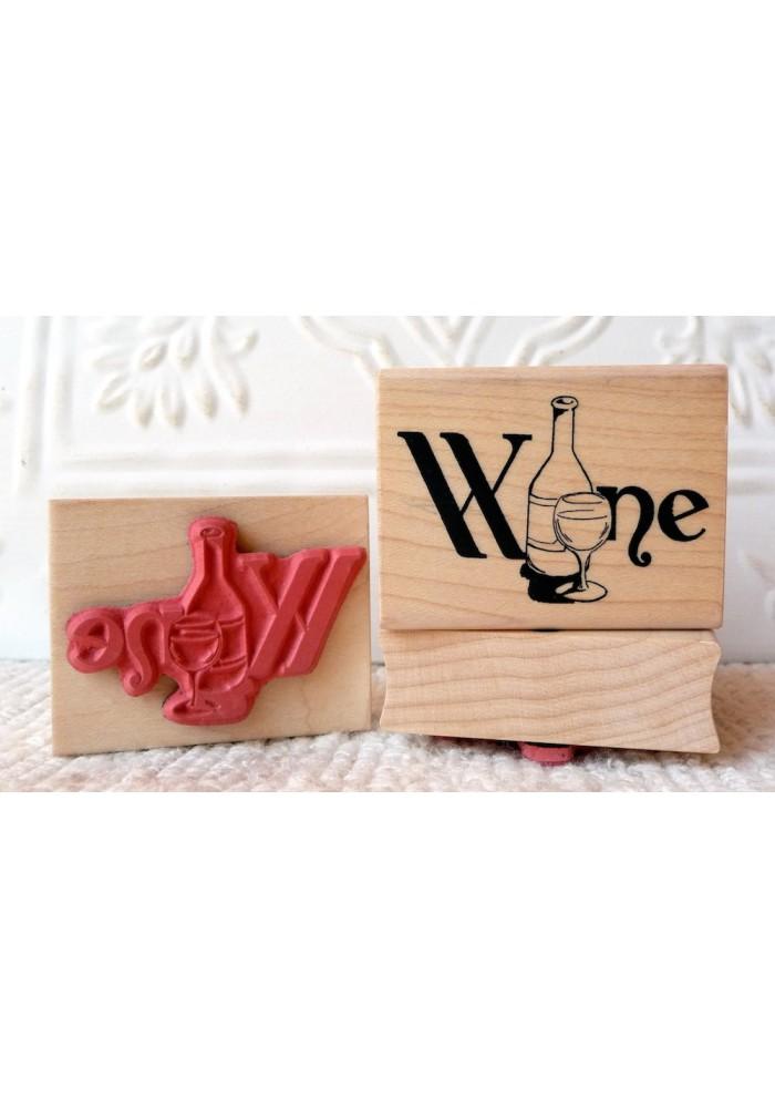 Wine Script Rubber Stamp