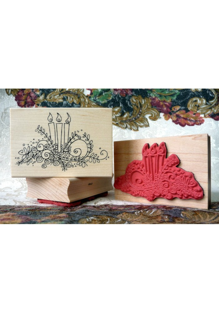 Centre Peace Christmas Candles Rubber Stamp