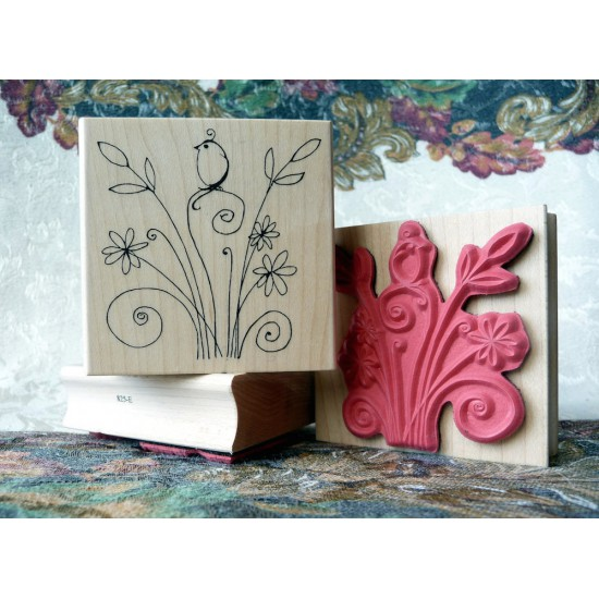 Feathers and Flowers Rubber Stamp