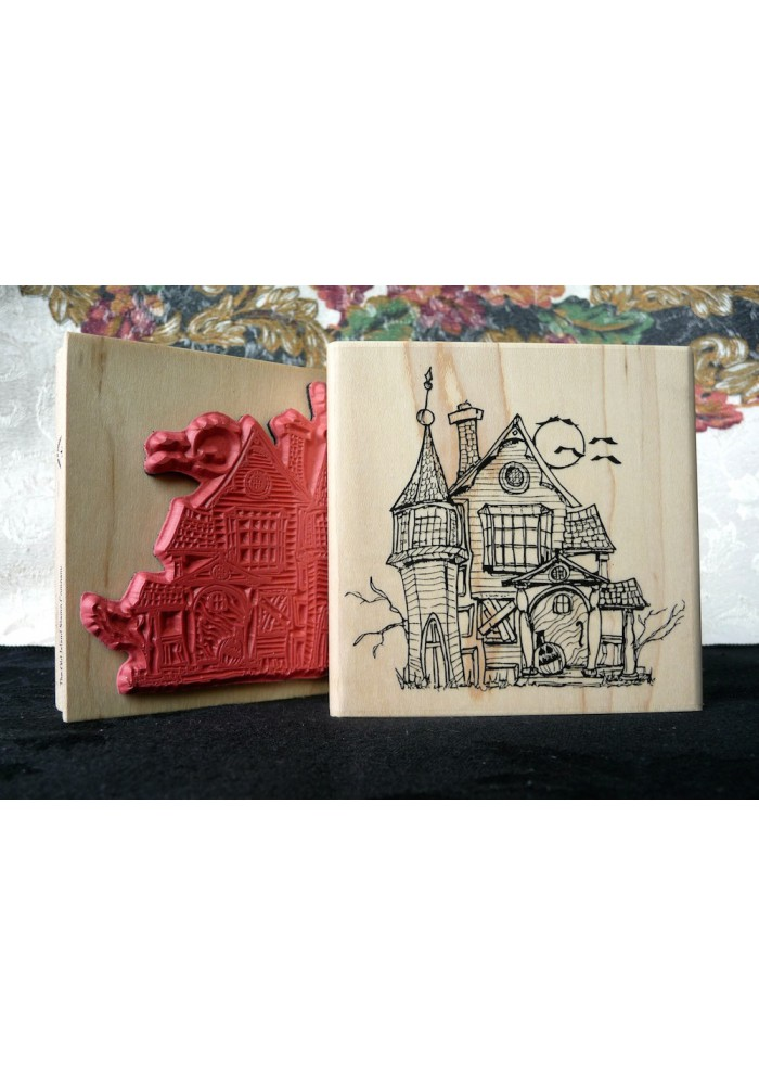 Haunted House Rubber Stamp