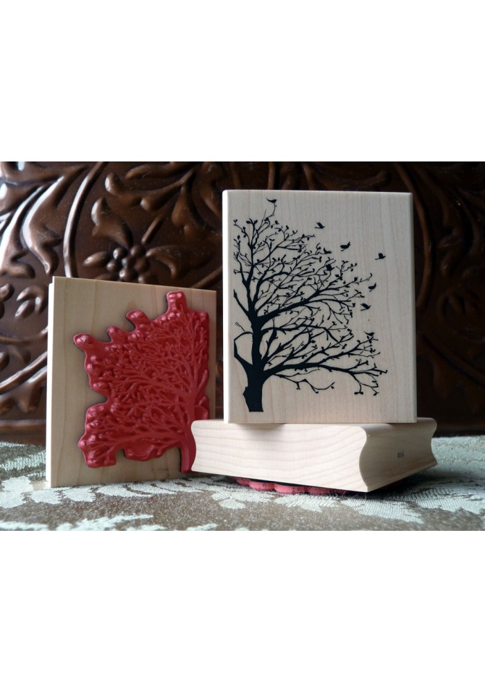 Silhouette Tree and Birds Rubber Stamp