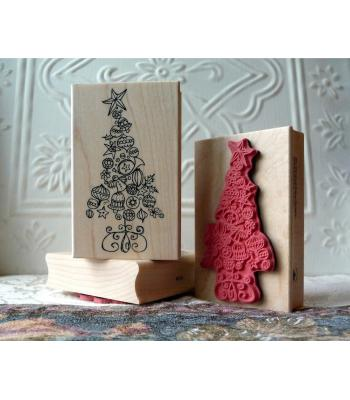 Ornamental Christmas Tree Rubber Stamp