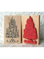 Candle Christmas Tree Rubber Stamp