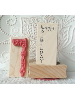 Happy Birthday Vertical Rubber Stamp