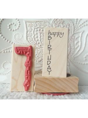 Happy Birthday Vertical Rubber Stamp