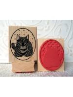 Cross Stitch Cat Rubber Stamp