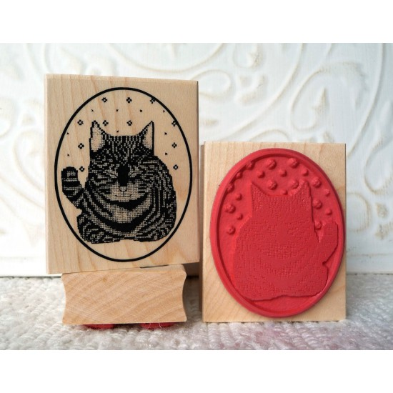 Cross Stitch Cat Rubber Stamp